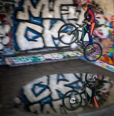 Urban action (ainz1607) Tags: colours reflection fun play youth fly speed movement skate park london stunt jump bicycle cycle bmx bike action grafitti urban olympus omd em10