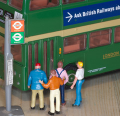 The passengers were angry because the bus driver closed the doors against them. (alisonhalliday) Tags: macromondays closed green bus londontransport miniatures modelbus macro canoneos77d sigma105mm cmwdgreen cmwd