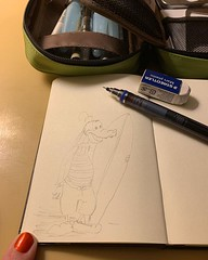 I'm not sure I've got a future as a cartoonist ahead of me, but it was fun to try and draw this Goofy statue that's in the lobby of our hotel. #10minsbeforebed #doodle #urbansketch #pencil #drawing #doitfortheprocess #carveouttimeforart