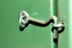 ...Closed... (cegefoto (Coming back slowly)) Tags: macromondays closed 119picturesin2019 acidgreen macro haakje hook 2cm werkbank workbench metaal metal