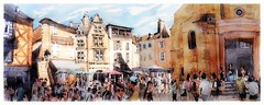 Sarlat - Périgord - France (guymoll) Tags: sarlat périgord france croquis sketch panoramique panoramic people personnages foule ville place town aquarelle watercolour watercolor aguarela acuarela