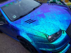 (Uno100) Tags: vw volkswagen golf 3 4 color colour wrap neon blue green jd design tuning gti 2019 weeze airport volkstyle
