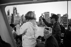 Snap (OzGFK) Tags: 2019 35mm august chm400universal chm400 sydney yashicaelectro35gl afternoon analog blackandwhite film winter sunset ferry tourists monochrome bw