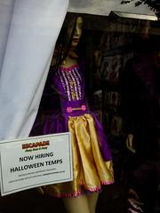 Escapade (Steve Taylor (Photography)) Tags: uk gb greatbritain escapade fancydress costume outfit mannequin sign shop window purple gold england unitedkingdom london camden