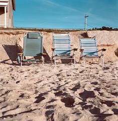 Please, Take Me Back There (SebRiv) Tags: ocean sea usa sun beach relax chairs lounge maine peacefulness biddefordpool fortunerocks tlr rolleiflex