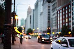 Michigan Avenue (Yuki (8-ballmabelleamie)) Tags: chicago loop evening sunset dusk traffic cars buildings streetbokeh 50mmlens manualfocus