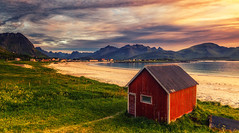 Ramstad beach (bjorns_photography) Tags: landscape view lofoten norway outdoor red building beach sand photography clouds mountain norge