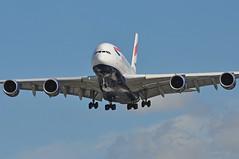 'BA6B' (BA0286) SFO-LHR (A380spotter) Tags: approach landing arrival finals shortfinals belly airbus a380 800 800igw msn0095 firstwv006variant 15°increaseinwingtwist 573t1260000lbmtow 4tonne8800lbincreasetotakeoffweight gxlea toflytoserve emblem achievement crest coatofarms internationalconsolidatedairlinesgroupsa iag britishairways baw ba ba6b ba0286 sfolhr runway27l 27l london heathrow egll lhr