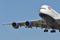 'BA6B' (BA0286) SFO-LHR (A380spotter) Tags: approach landing arrival finals shortfinals threshold belly airbus a380 800 800igw msn0095 firstwv006variant 15°increaseinwingtwist 573t1260000lbmtow 4tonne8800lbincreasetotakeoffweight gxlea toflytoserve emblem achievement crest coatofarms internationalconsolidatedairlinesgroupsa iag britishairways baw ba ba6b ba0286 sfolhr runway27l 27l london heathrow egll lhr