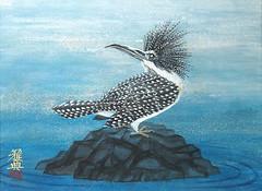 Crested kingfisher (Japanese Flower and Bird Art) Tags: bird crested kingfisher megaceryle lugubris alcedinidae masanori shinoda modern painting japan japanese art readercollection