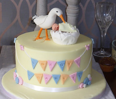 Our daily challenge - look on the bright side.  A baby shower cake.   Very pretty and tasty. (alisonhalliday) Tags: cake stork baby celebration panasonic dmctz40 food decoration odc lookonthebrightside