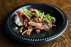 Beef shank osso bucco: beef shanks smoked over a applewood, braised in beef stock w/beer and smoked San Marzano tomatoes. Served over local white rice w/ Parmesan. From Buck's Barbeque Co. (houstonfoodie) Tags: bbq barbecue houston saintarnoldbrewing