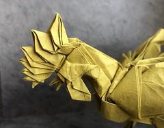 Rooster (日輪富 Philogami) Tags: origami philogami rooster satoshi kamiya folding art lokta paper animal