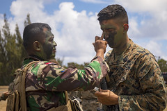 A U.S. Navy Corpsman with Alpha Company, 1st Battalion, 3rd Marine Regiment, and an Indonesian Korps Marinir (KORMAR) apply camouflage paint before patrol operations at Kahuku Training Area, Aug. 13, 2019.