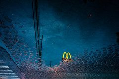 Save it for a rainy day (Blue Nozomi) Tags: mcdonalds mc mcdo mcdonald fastfood food rain after water reflection sidewalk blue sign