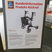 Aldi South information board for customer information about a product recall of the Aspiria wheeled walker rollator