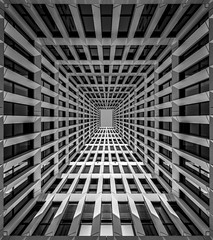 tunnel2sky (Blende1.8) Tags: wuppertal nrw bergisches land composing photoshop architecture wideangle wide tunnelview tunnelblick surreal lines linien symmetrie symmetry urban city modern contemporary facade fassade window windows building patio inneryard geometry geoemtric geometrical