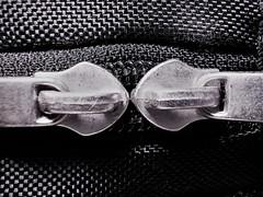 Closed (flowergirlaaa) Tags: zip zipper locked closed monochrome bag double two macromondays