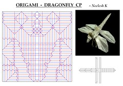 ORIGAMI - DRAGONFLY CP (Neelesh K) Tags: origami dragon dragonfly hybrid pun funny insect boxpleating paper paperart folding origamiart neelesh k surreal cp creasepattern