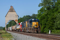 CSX 8060 @ New Buffalo, MI (Michael Polk) Tags: csxt emd sd402 freight train q326 new buffalo michigan coal tower pere marquette grand rapids subdivision