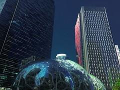 Bezos' Bgentrification Balls (WallisColours) Tags: seattle washington wa pnw summer blue sky city amazon spheres skyscraper building west coast architecture