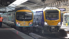 Transpennine Express 185 and Northern 195 at Manchester Airport (MT Productions) Tags: transpennine express northern trains trainspotting transport train british rail class 185 195 passenger commuter diesel multiple unit dmu intercity manchester airport railway station railways rails england united kingdom great britain platform sunny tracks brand new