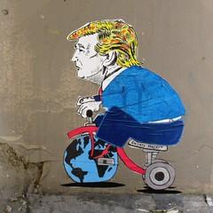 I Hereby Am Aspiring King of Greenland (Robert Saucier) Tags: roma rome mur wall stencil streetscene streetart tricycle trump globeterrestre globe img7262 ihereby