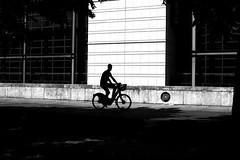 On wheels (pascalcolin1) Tags: paris homme man silhouette vélo bike mur wall lumière light photoderue streetview urbanarte noiretblanc blackandwhite photopascalcolin 5omm canon50mm canon