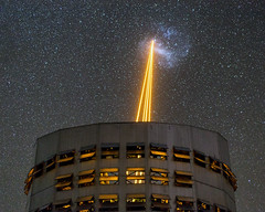 The Large Magellanic Cloud under fire! (Juan-Carlos Munoz-Mateos) Tags: astronomy astrophotography night nightphotography nightscape laser verylargetelescope magellanicclouds vlt paranal longexposure atacama chile telescope