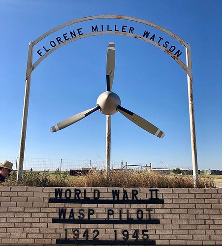This memorial stands outside the gate of the airport in Big Lake, TX. It's accompanied by a plaque (not pictured) that reads: FLORENE MILLER WATSON WOMEN AIR FORCE SERVICE PILOTS 1942-1944 During World War II, a handpicked group of young women pilots beca