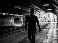 (empunkthapunkt) Tags: people man human walking streetlife streetphotography blackandwhite bw monochrome light shade dark noir atmosphere tunnel menschen mann strasenfotografie schwarzweiss einfarbig licht schatten dunkel olympus em10markii olympusm1442mmf3556iir