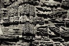 Whitby Abbey (North Yorkshire): weathered brownstone wall (wwwuppertal) Tags: whitby northyorkshire nordengland grosbritannien greatbritain uk unitedkingdom vereinigteskönigreich sommer summer whitbyabbey abtei kloster ruine ruin mittelalter medieval architektur architecture sakralbau glaube religion faith verwitterung weathering zerstörung destruction sandstein sandstone wand wall gotik gothic monochrome monochrom sw schwarzweis bw blackandwhite noiretblanc blancetnoir getont toning tonung nikond3300 nikonafsdxnikkor18140mm3556gedvr