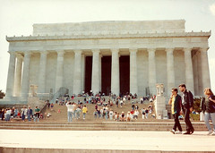 The Lincoln Memorial, Washington D.C., 1993 (alexdavidwriter) Tags: abrahamlincoln lincoln memorial washington dc districtofcolumbia america usa unitedstates architecture building monument american history mall columns steps marble capital