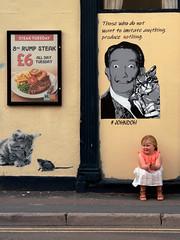 Princess Street - Burnham on Sea 3 (stevedexteruk) Tags: salvador dali victoria hotel pub burnhamonsea burnham somerset street art mural 2019 text johndo thosewhodonotwishtoimitateanythingproducenothing princessstreet steaktuesday cat mouse