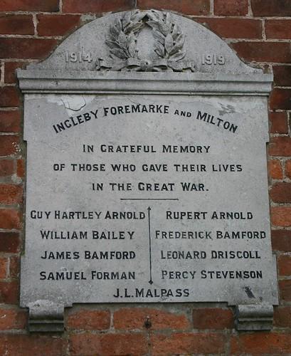 Ingleby, Foremark and Milton War Memorial 3