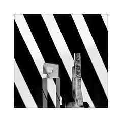 sculptures (Armin Fuchs) Tags: arminfuchs lavillelaplusdangereuse würzburg diagonal sculptures stripes niftyfifty square museum shadows