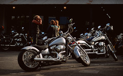 Silver Machine.. (Harleynik Rides Again.) Tags: goldenhour silvermachine chopper 100th deuce bikes bikers riders harleydavidson harleynikridesagain