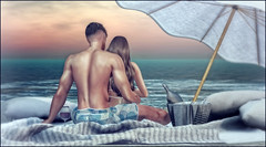 *Let the waves hit your feet and the sand be your seat* ❤️ (Ⓐⓝⓖⓔⓛ (Angeleyes Roxley)) Tags: goose summer time mainstore cosmopolitan event sl secondlife blanket pillows wine glass basket umbrella singel couple adult