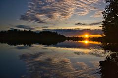 Sunset at the Abtsdorf lake in Upper Bavaria (echumachenco) Tags: lake water reflection sky cloud sun evening sunset sundown outdoor landscape tree foliage forest abtsdorfersee berchtesgadenerland bavaria bayern deutschland nikond3100 august summer abtsee