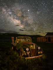 Late June Milky Way Over 1940 Ford (Jeff Sullivan (www.JeffSullivanPhotography.com)) Tags: california park travel wild usa west abandoned nature night landscape photography town nikon state ghost historic mining american nikkor bridgeport monocounty bodiestatehistoricpark 850d copyright june lens photo allrightsreserved 2019 jeffsullivan 1424mmf28 green ford rural truck way stars skies decay 1940 commercial bodie milky starry