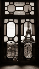 Window view onto Eiffel (Madlen Arab) Tags: eiffel pariswindows pariswindow paris tower eiffeltower tour toureiffel blackandwhite black white whiteandblack old window windows france manipulation oldwindow theeiffeltower