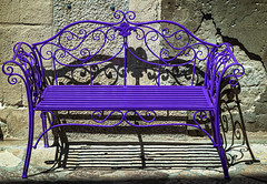 The purple bench (Leaning Ladder) Tags: matera italy italia basilicata sassi colors purple shadows metal canon 7d mkii 7dmkii leaningladder