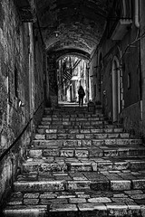 Stranger in the shadows (Leaning Ladder) Tags: matera italy italia basilicata sassi blackandwhite bw street silhouette canon 7d mkii 7dmkii leaningladder
