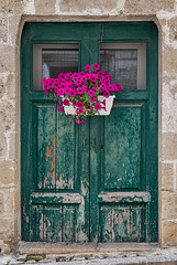 The doors of Matera (Leaning Ladder) Tags: matera italy italia basilicata sassi doors green crusty flowers pink canon 7d mkii 7dmkii leaningladder