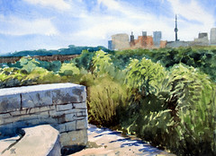 Brick Works 3, Plein Air, 2019-08-19 (light and shadow by pen) Tags: watercolor landscape brickworks toronto art