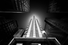 Comcast Technology Center & Four Seasons Hotel (ADW44) Tags: monochrome skyscrapers city bw blackandwhite venus laowa zerod wideangle super wide philly phillyist philadelphia 12mm