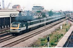 43164GB_CardiffCanton_010699 (Catcliffe Demon) Tags: railways railroading uk merlin firstgreatwestern fgw gwml hst hsdt greatwesternmainline class43 paxman valenta ukrailimages1999 glamorgan southwales powercar diesellocomotive highspeedtrain
