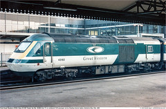 43182GB_Reading_140599 (Catcliffe Demon) Tags: railways railroading uk merlin firstgreatwestern fgw gwml hst hsdt greatwesternmainline class43 paxman valenta ukrailimages1999 berkshire powercar diesellocomotive highspeedtrain