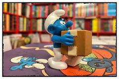 New delivery at the comic book store! (hd_lego) Tags: delivery bd strips antwerp parcel peyo toyphotography toys belgiancomics comics smurfing beostripwinkel schtroumpf smurfs smurf