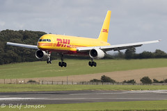 G-DHKK Boeing 757-200 DHL Air Prestwick airport EGPK 19.08-19 (rjonsen) Tags: plane airplane aircraft aviation airliner cargo freighter landing runway airside
